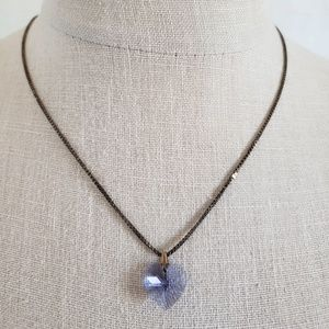 925 Sterling Silver Faceted Purple Heart Necklace